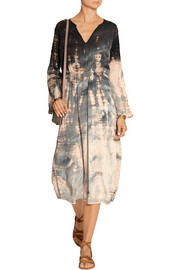 Tie-dyed crinkled silk-crepe midi dress
