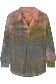 Raquel Allegra Sunset tie-dyed silk blouse