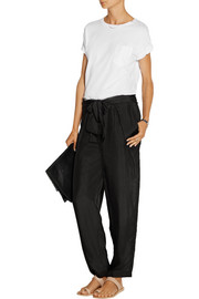 Tie-front silk tapered pants