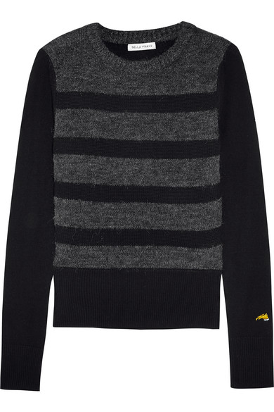 Bella Freud - Glam Rock Striped Wool-bend Sweater - Black