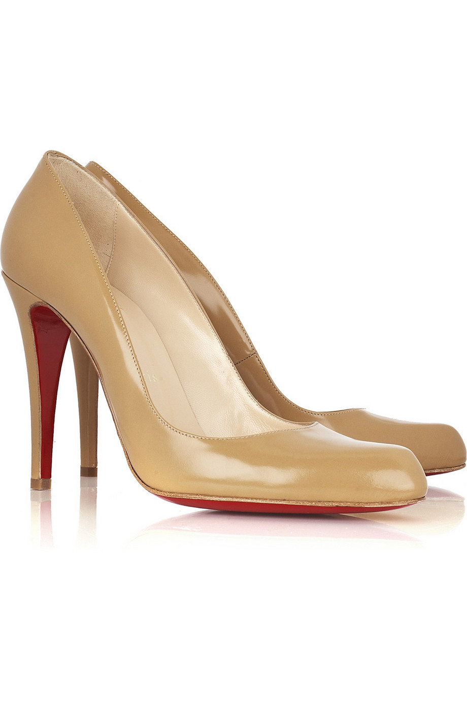 Christian Louboutin Décolleté 100 Leather Pumps, Sand, Women's US Size: 4, Size: 34.5