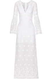 Miguelina Fiona embroidered cotton-voile maxi dress