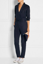 Wrap-effect brushed cotton-twill jumpsuit