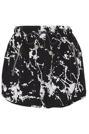 Printed crepe shorts