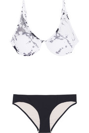 Printed stretch mesh-paneled triangle bikini