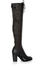 Idylle patent and stretch-leather over-the-knee boots
