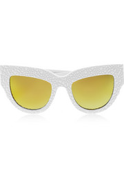 Lush Lily cat-eye textured-acetate mirrored sunglasses