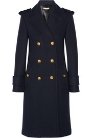 Double-breasted melton wool coat