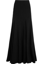 Stretch wool-blend maxi skirt