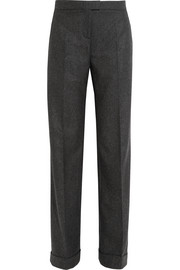 Mélange wool and cashmere-blend wide-leg pants