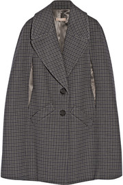 Houndstooth melton wool cape