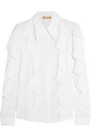 Ruffled silk-crepe blouse