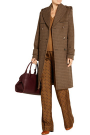 Double-breasted houndstooth wool coat