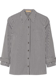 Striped cotton-blend poplin shirt
