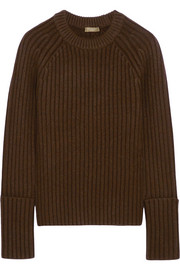 Ribbed merino wool-blend sweater