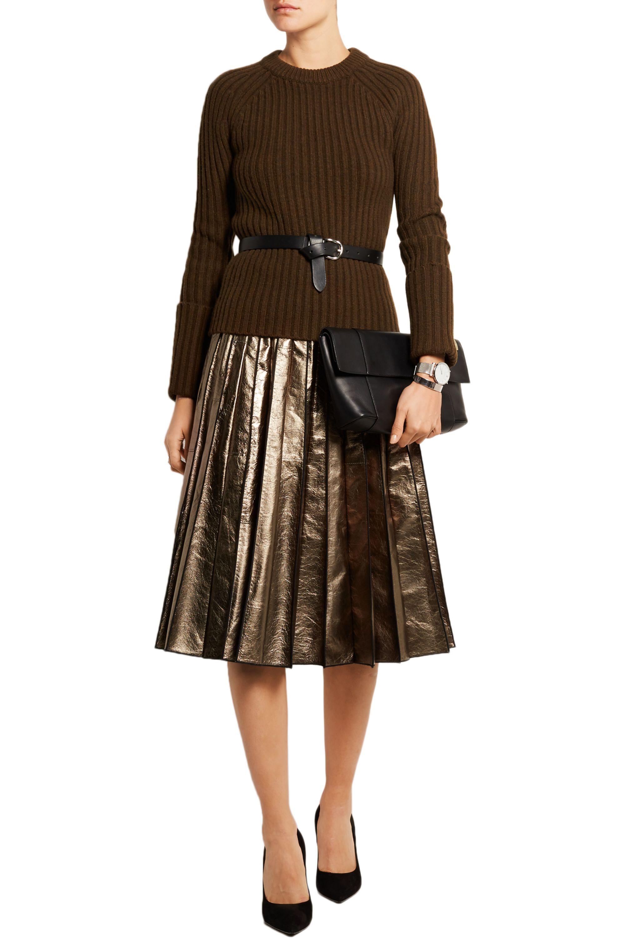 Michael Kors Collection Ribbed merino wool-blend sweater