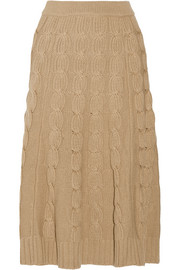 Merino wool and cashmere-blend midi skirt