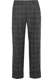 Cropped Prince of Wales check stretch-wool straight-leg pants