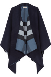 London checked merino wool cape