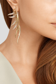 Gold-plated cubic zirconia earring