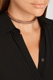 Pavé Safety Chain rose gold-plated cubic zirconia choker