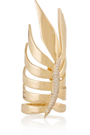 Frond gold-plated cubic zirconia ring