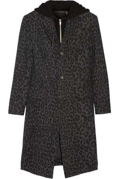 R13 - Hooded Leopard-print Wool-blend Coat - Charcoal