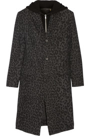 Hooded leopard-print wool-blend coat