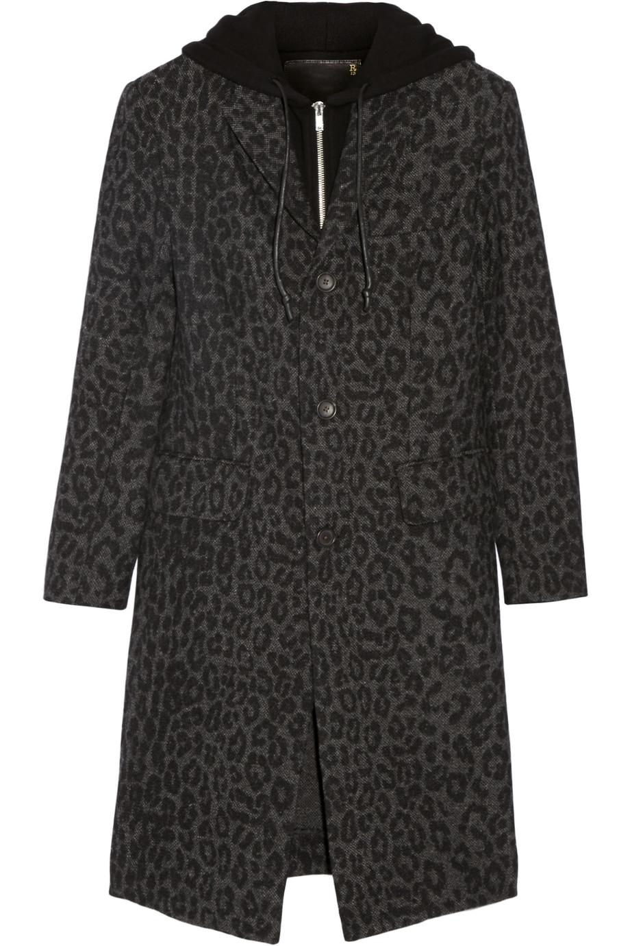 R13 Hooded Leopard-Print Wool-Blend Coat, Size: S