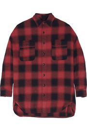 X-Oversized plaid cotton-flannel shirt