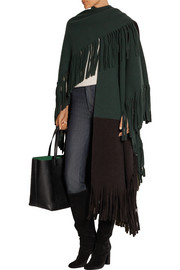Color-block fringed wool-blend felt poncho