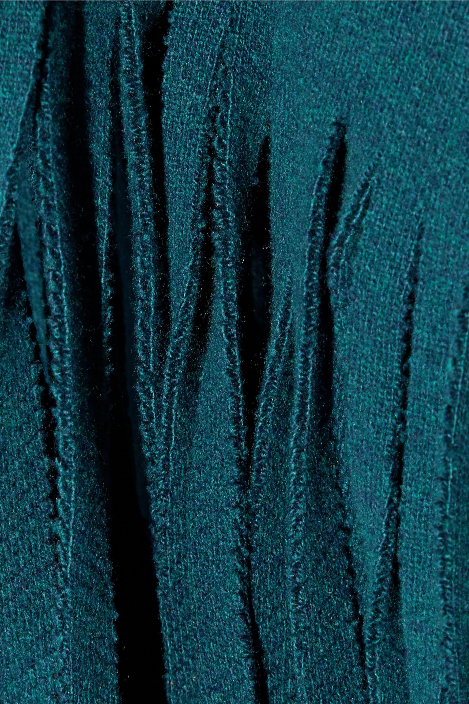 Burberry Fringed wool-blend felt poncho