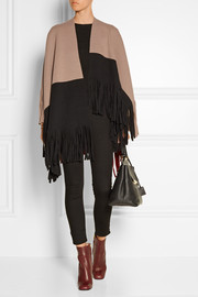 Burberry Prorsum Color-block fringed wool-blend felt poncho