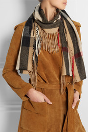 Burberry Prorsum Fringed checked cashmere scarf