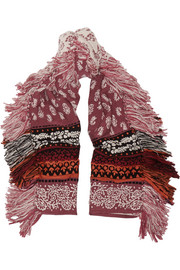 Wool, cashmere and cotton-blend jacquard scarf