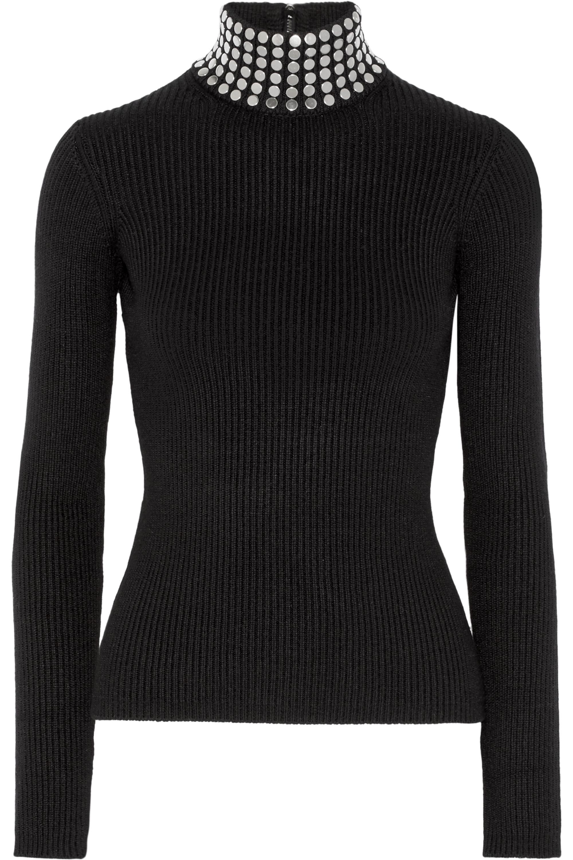 Alexander Wang Embellished ribbed stretch silk-blend turtleneck sweater