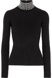 Embellished ribbed stretch silk-blend turtleneck sweater