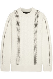Embellished cable-knit wool sweater