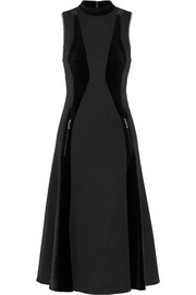 Velvet-paneled embellished wool-twill dress