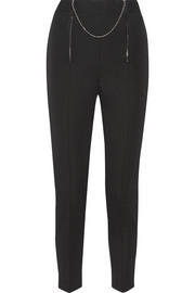 Embellished wool-twill tapered pants