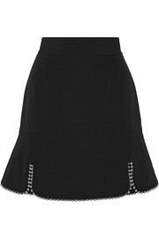 Embellished wool-gabardine mini skirt