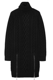 Cable-knit wool sweater dress