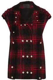 Plaid cotton-blend vest