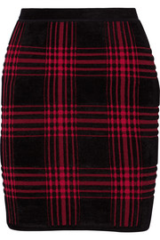 Buffalo plaid stretch-chenille mini skirt