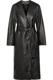 Tuggas textured-leather wrap coat