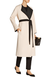 Augustus two-tone wool and silk-blend wrap coat