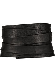 Inton textured-leather belt