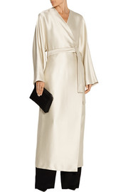 Laki satin-twill wrap dress