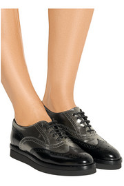 Paneled leather platform brogues