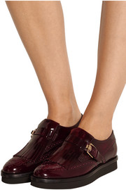Fringed glossed-leather platform brogues